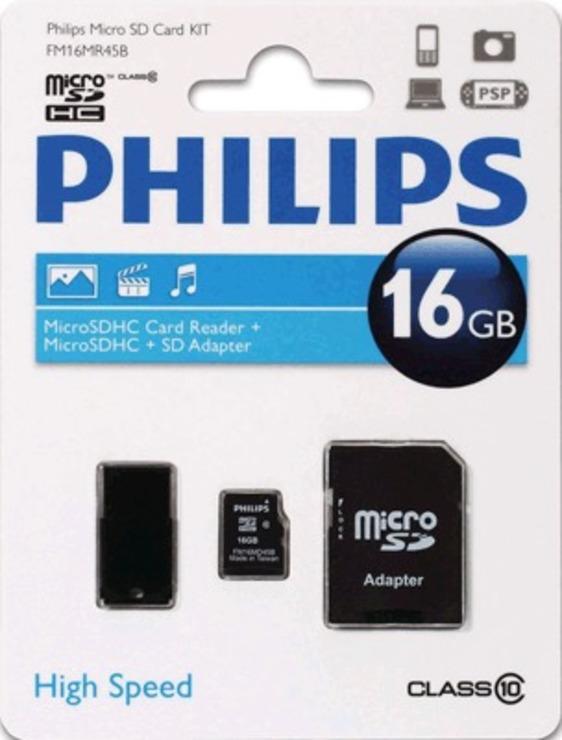 Philips Micro SDHC Card 16 GB 3 in 1/FM16MR45B/...
