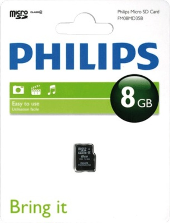 Philips Micro SDHC Card 8 GB/FM08MD35B/10 Class 4