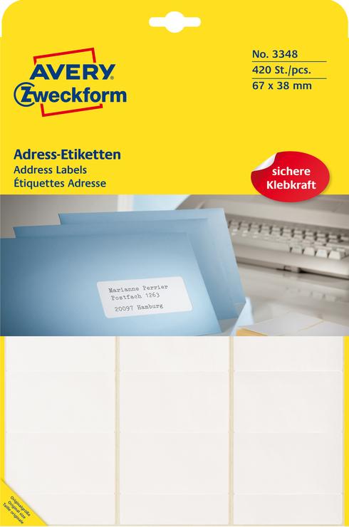 Avery Zweckform Adress-Etiketten, weiss, 67x38m...