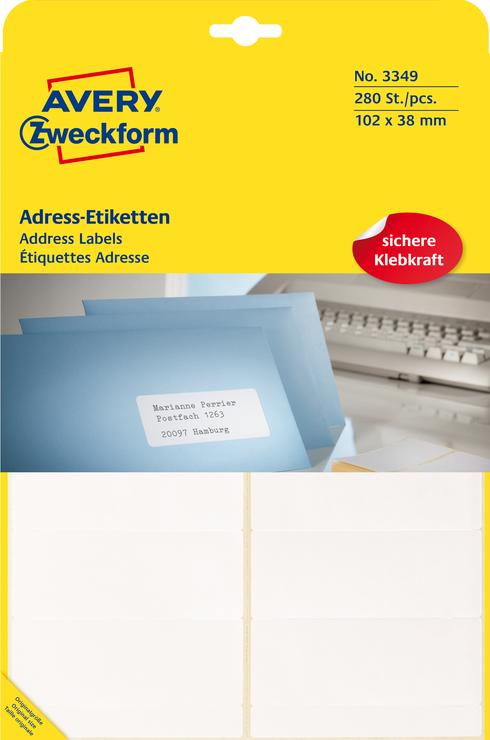 Avery Zweckform Adress-Etiketten, weiss, 102x38...