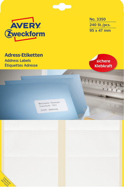 Avery Zweckform Adress-Etiketten, weiss, 95x47m...