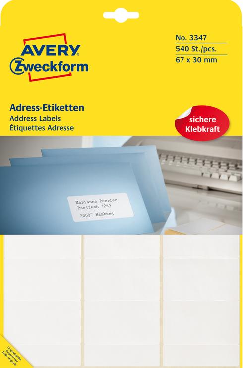 Avery Zweckform Adress-Etiketten, weiss, 67x30m...