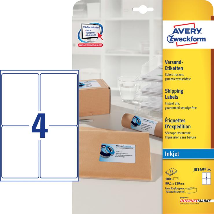 Avery Zweckform Adress-Etiketten, inkjet, weiss...