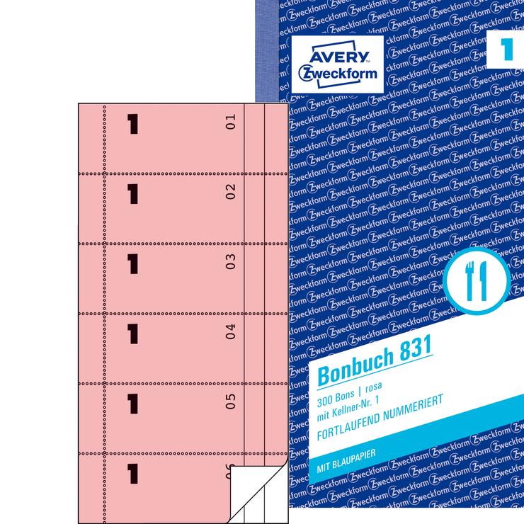 Avery Zweckform Bonbuch rosa, 1. und 2. Blatt b...
