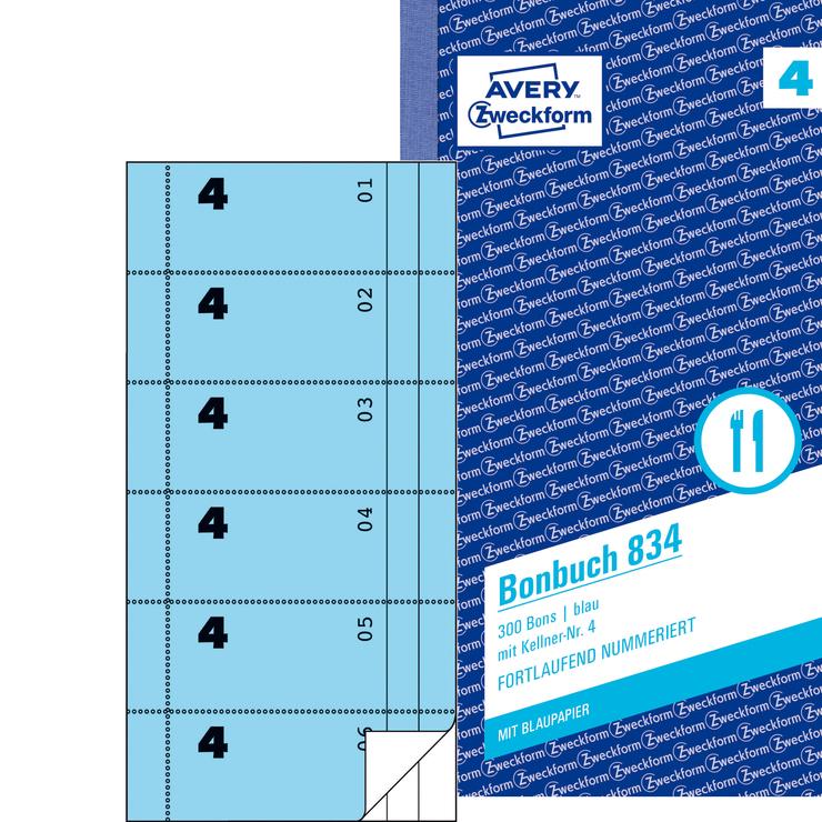 Avery Zweckform Bonbuch blau, 1. und 2. Blatt b...