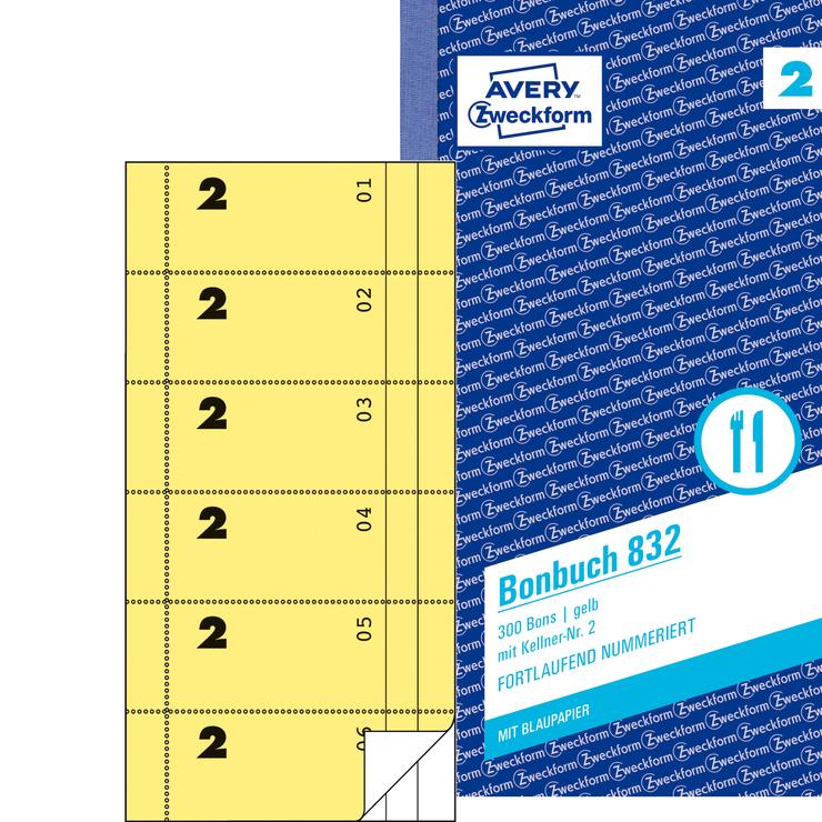 Avery Zweckform Bonbuch gelb, 1. und 2. Blatt b...