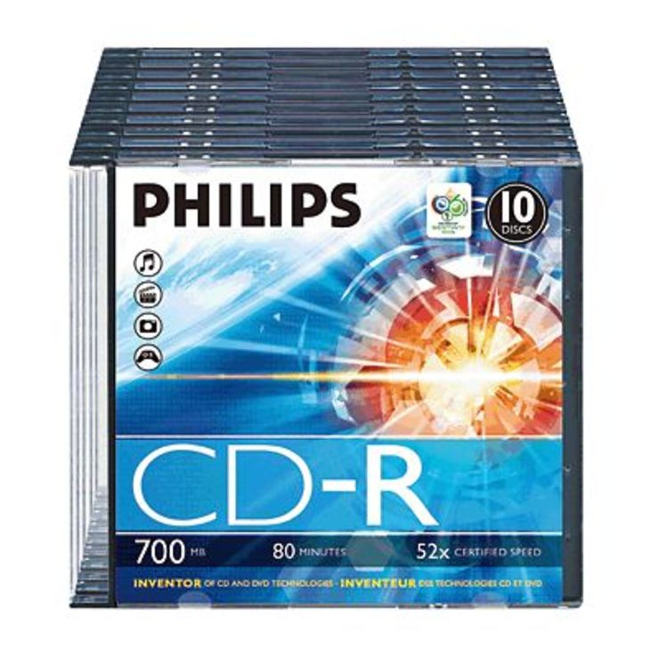Philips CD-R Rohlinge/CR7D5NS10/00 10 im Slimcase