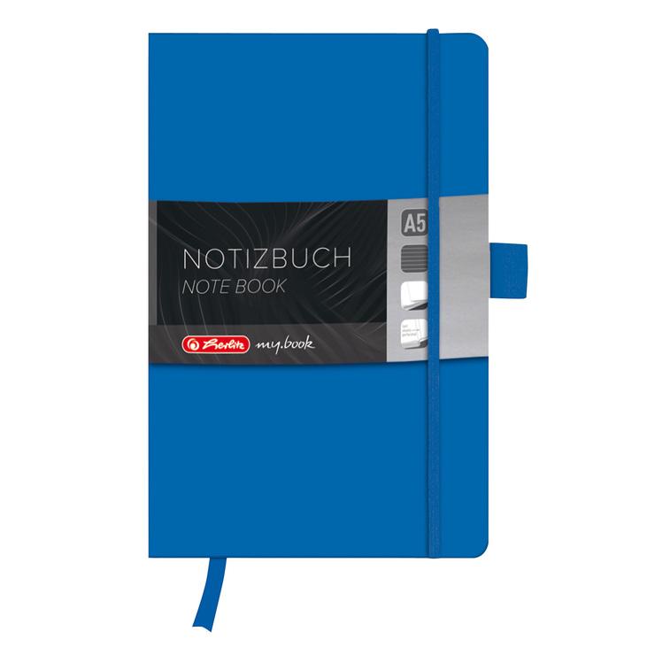 Herlitz Geschäftsbuch, Kunstleder, blau, linier...