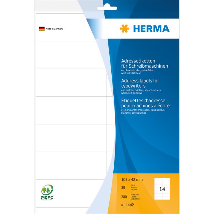 HERMA Adress-Etiketten, A4, 105 x 42 mm, weiß, ...