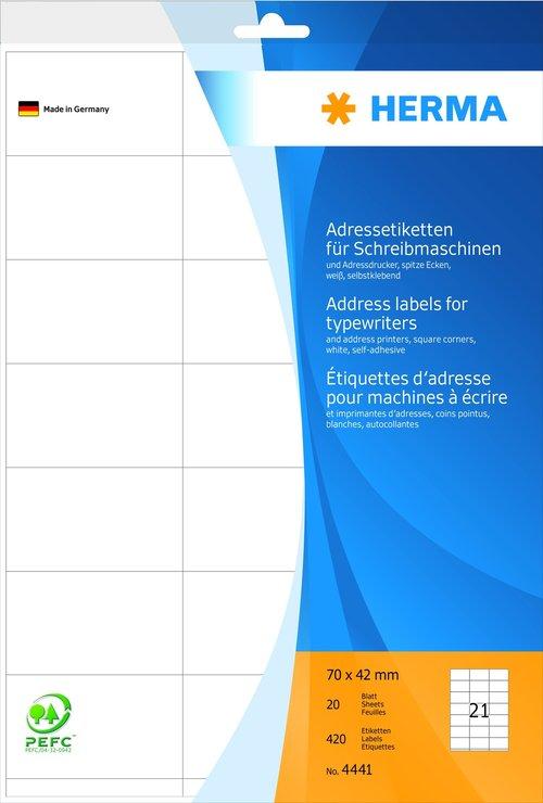 HERMA Adress-Etiketten, A4, 70 x 42 mm, weiß, 4...