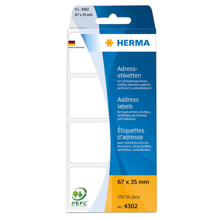 HERMA Adress-Etikett leporelle, lift-off Qualit...