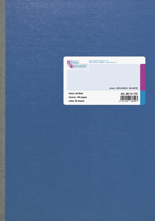 König & Ebhardt Geschäftsbuch, glanzlackierter Karton mit Strukturprägung, blau, liniert, A4, 21