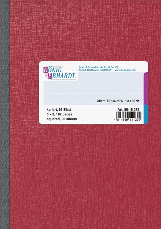 König & Ebhardt Geschäftsbuch, glanzlackierter Karton mit Strukturprägung, rot, kariert, A6, 105