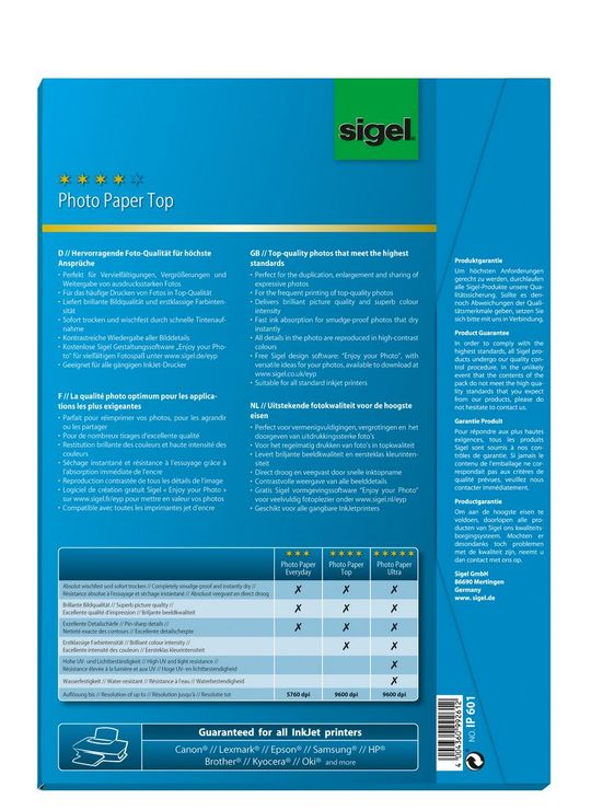 Sigel Inkjet Top Fotopapier A4 170g 50 Bl hochg...