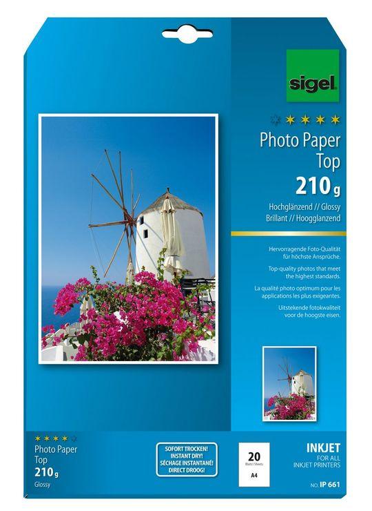 Sigel Inkjet Top Fotopapier A4 210g 20Bl hochgl...