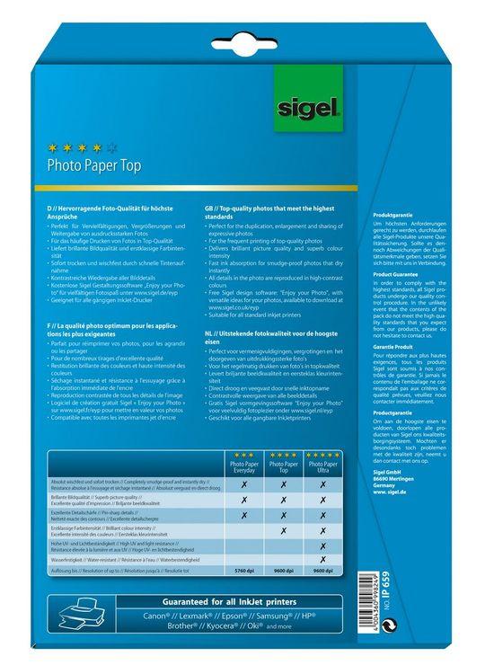 Sigel Inkjet Top Fotopapier A4 170g 20Bl hochgl...
