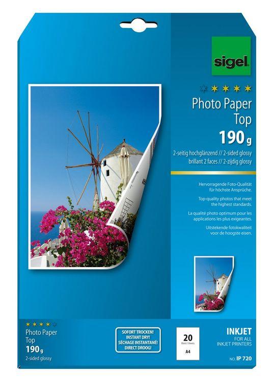 Sigel Inkjet Top Fotopapier A4 190g 20Bl beidse...