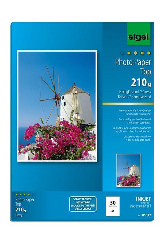 Sigel Inkjet Top Fotopapier A4 210g 50Bl hochgl...