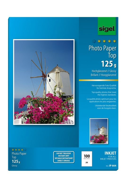 Sigel Inkjet Top Fotopapier A4 125g 100 Bl hoch...
