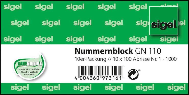 Sigel Nummernblock 1-1000 10Bk 5 farbig sortiert