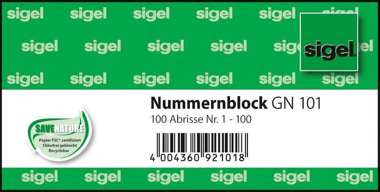 Sigel Nummernblock 10,5x5 1-100 1Bk 5 farbig so...