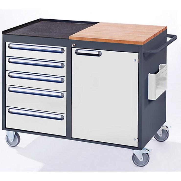 RAU Werkbank, fahrbar - 5 Schubladen, 1 Tür, Arbeitsfläche Holz ...