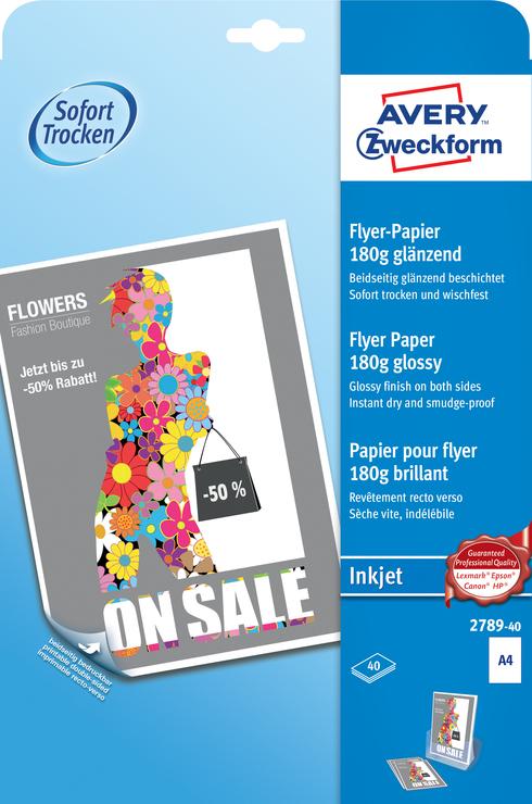 DIN A4 AVERY Zweckform Flyer-Papier 170 g//qm weiß