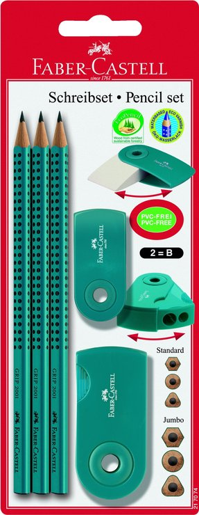 Faber-Castell Bleistiftset GRIP2001, B, petrol | Papersmart