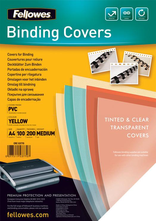 200 Mic gl/änzend PVC 100 Stueck A4 Rexel Einbanddeckel