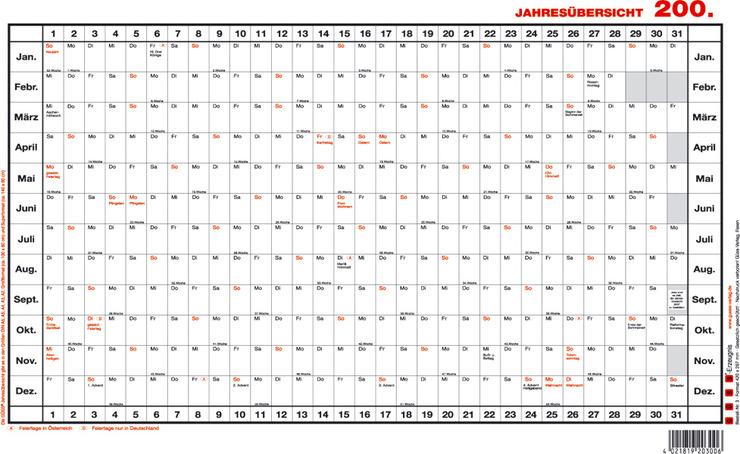 GÜSS® Jahresübersicht Superformat | Papersmart