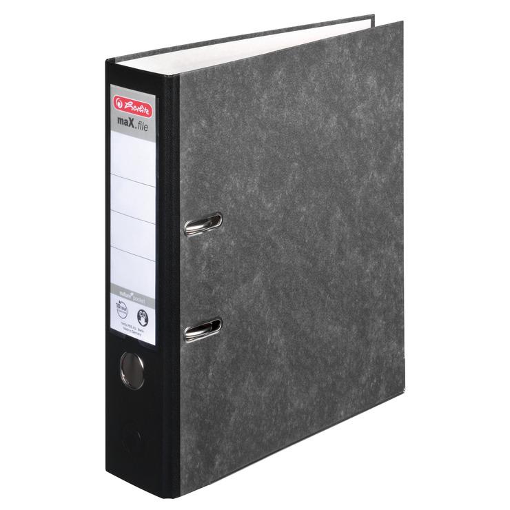 c10249fba30c8c Ordner DIN A4, 80 mm, Karton, Wolkenmarmor, schwarz | Papersmart