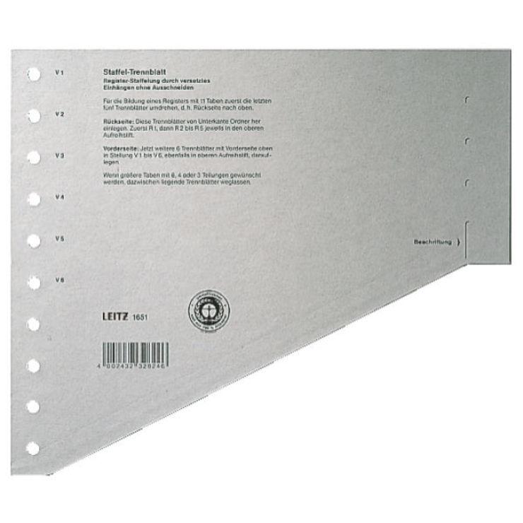 leitz trennblatt a4 gestaffelt karton grau papersmart. Black Bedroom Furniture Sets. Home Design Ideas