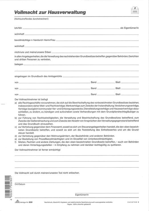Rnk Anstellungsvertrag Hausverwalter Vollmacht Papersmart