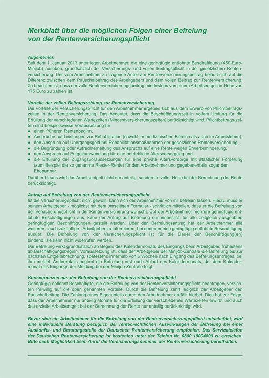rnk arbeitsvertrag fr geringfgig und teilzeit beschftigte - Arbeitsvertrag Minijob Muster Kostenlos