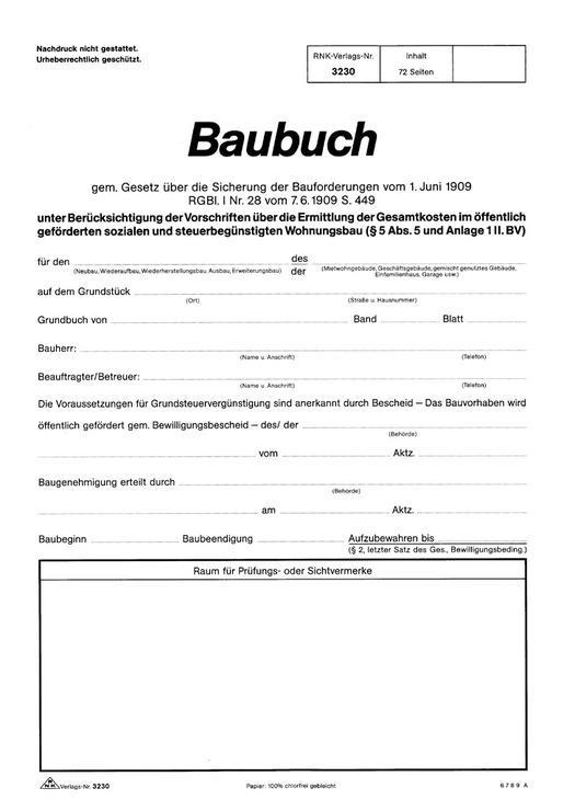 RNK Baubuch günstig kaufen | Papersmart