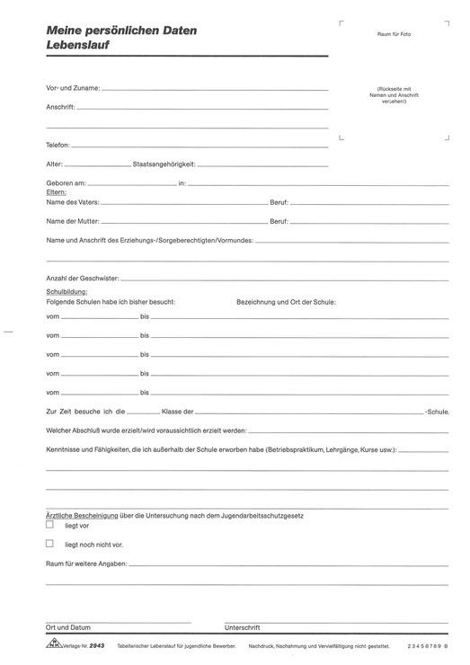 RNK Lebenslauf für Jugendliche, DIN A4 | Papersmart