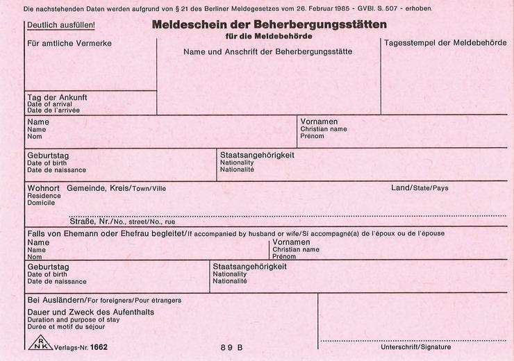 RNK Meldeschein für Beherbergungsstätten Berlin   Papersmart