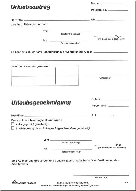RNK Urlaubsantrag, A5, 148 x 210 mm, 50 Blatt | Papersmart