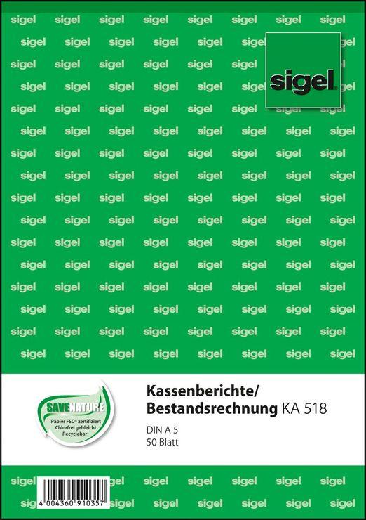 10 x Sigel Formularbuch KA518 Kassenbericht//Bestandsrechnung